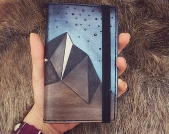 Geometric Mountains Leather Journal