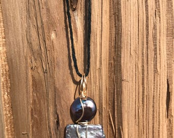 Stacked Coin Pearl Wire Wrapped Necklace
