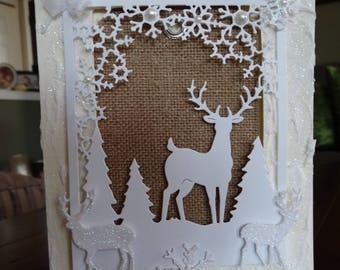 Framed Deer Christmas scene, snowflakes