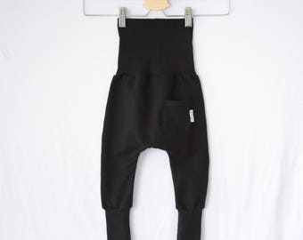 Scalable black harem pants plain with Pocket back grow with me harem pants black
