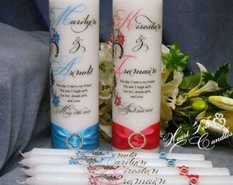 Floral Script Unity Candle Set (24 colors) - Wedding Ceremony Set - Unique Unity Candle – Personalized Candles