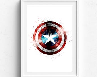 Captain america art, superhero print, avengers print, captain america gift, superhero art print, watercolor art print, captain watercolor