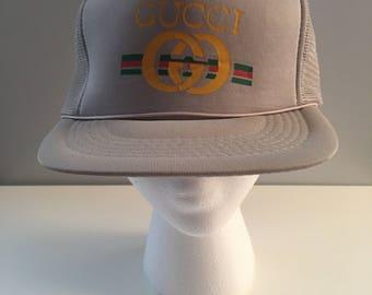 Deadstock GUCCI Bootleg Snapback Hat 1980's Vintage Headwear Adjustable 100% Polyester Vtg Fake Gucci