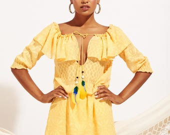 Yellow dress with feather, dress with sleeves. Etnic dress. boho