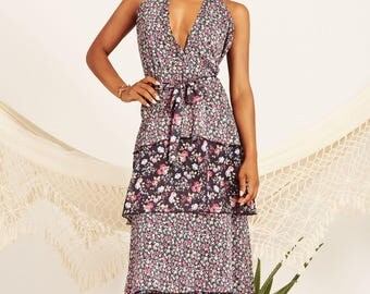 Long black dress, Liberty print, boho, sleeveless dress, Floral print dress, maxi dress