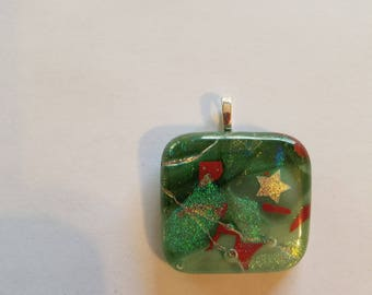Fused glass necklace pendant