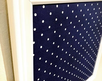 "14 X 14"" Magnet Board Framed Fabric Bulletin Board Blue Polka Dot Magnetic Board Fabric Memo Board Covered Magnet Board with Button Magnets"