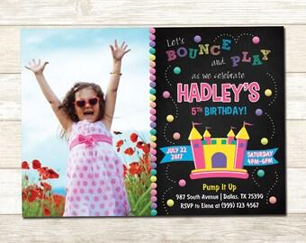 Bounce House Birthday Invitation - Bounce House Birthday Party - Bounce House Birthday Party Invite - Girl Bounce House Invite