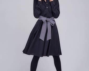 Dark grey dress with wide grey belt
