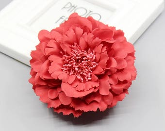 2 Red Peony Big Flower Hair Clips Brooches 10cm