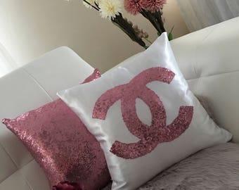 Set Of 2 Pillows , Chanel Pillow,Throw Pillow Cover, Sequins Pillow, Silver Gold Black White Sequin Pillow , For Girl, Decorative Pillows