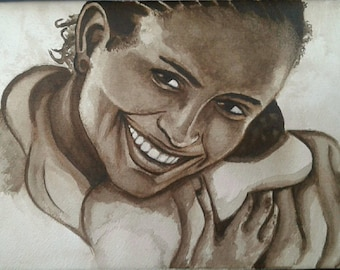Drawing/illustration - Girl original watercolour on paper/ragazza africana disegno originale acquerello su carta
