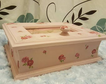 Handmade wooden jewellery box in a shabby chic rose design.