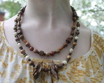 One of a kind wooden necklace and Earring set