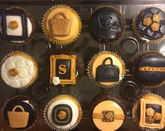12 Fondant Designer handbag Cupcake Toppers