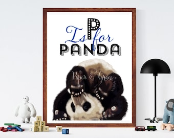 P for panda alphabet Children room quote art PRINT 11'' x 13'' hand drawn print