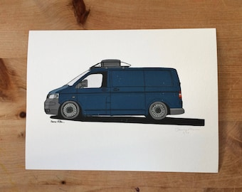 Volkswagen Transporter Van Illustration Print