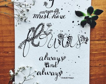 Claude Monet Flower quote with flower doodles