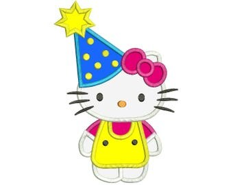 """Cute Cat Birthday Embroidery Applique Design Instant Download 3 sizes 4x4"""", 5x7"""", 6x10"""""""