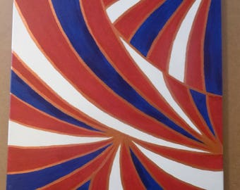 Decorative Patriotic Acrylic Painting (Red, White, and Blue)
