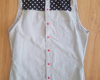 Striped and polka dot sleeveless shirt