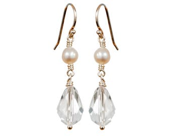 Sterling silver, Swarovski crystal and freshwater pearl earrings