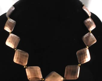 Beaded Necklace Hammered Copper Plate Glass Beads