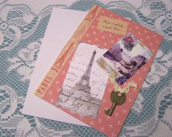 Handmade greeting card. Paris is always a good idea. Paris key