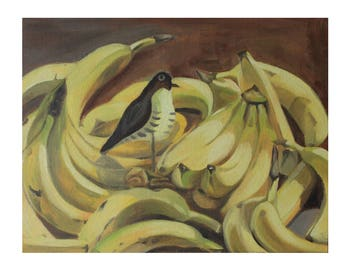 Original Oil Painting- Still life- 14'*11'- Banana- Yellow