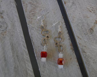 Art deco style earrings red and white cubes