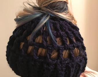 Messy Bun Beanie - Messy Bun Hat - Ponytail Hat - Bun Beanie - Crochet Beanie - Bun Hat Beanie - Crochet Hat - Crochet Bun Beanie - Running