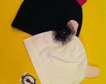 Up-cycled Vintage/Retro T-Shirt into Newborn Baby Girl Hats