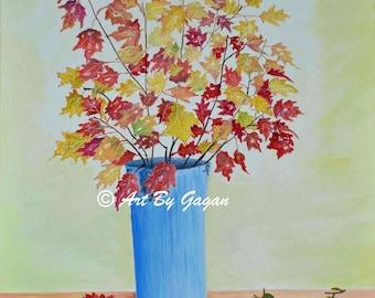 Flower Vase Original Oil on Canvas