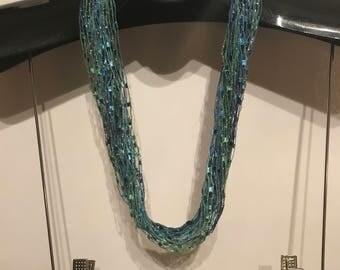 Mermaid Blue Turquoise Handmade Scarf Necklace