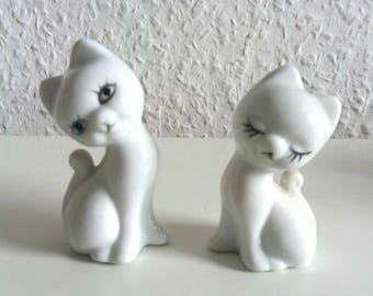 Vintage kitten some 70s white cat couple