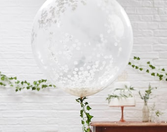 Wedding balloon etsy 3 pack white jumbo confetti filled balloons huge white confetti balloons white confetti junglespirit Gallery
