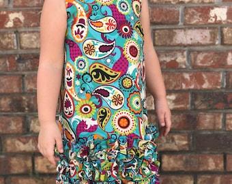 Girls Paisley Ruffle Dress