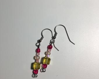 Yellow Square Earrings