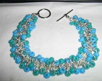 Shaggy Loops Turquoise and Teal Bracelet