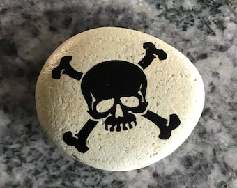 "Natural, Handmade Printed ""Cool Skull"" Stone. Unique Stone Art Gift."