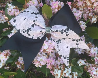 lacy pink and black cheer bow