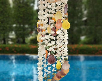 Seashell mobile, handmade in Thailand, natural colors, wind chime