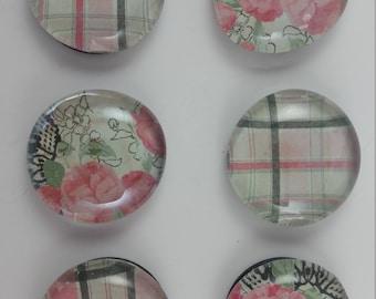 Pink & Black Plaid Whimsical Magnets