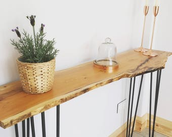 Yew live edge console table