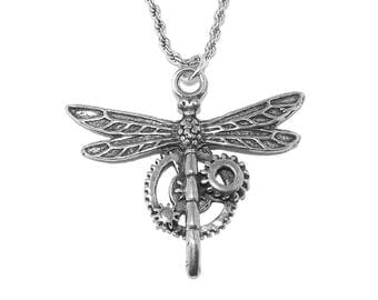 Steampunk Dragonfly and Gears Pewter Pendant Necklace with Chain