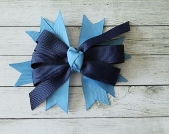 Light Blue/Navy Medium Bow
