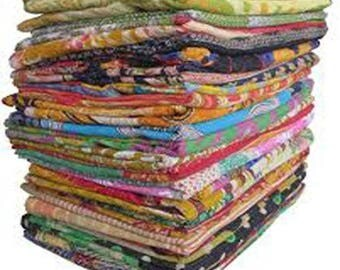 SALE 10 Pieces Whole Sale Lot of Indian Tribal Kantha Quilts Vintage Cotton Bedcover Throw Old Sari Made Assorted Patches Made Rally Blanket