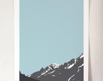 Alps III - Blue Sky A3 Giclée Print