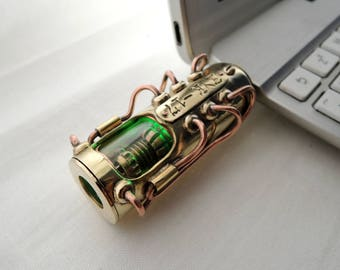 "Steampunk USB flash drive 32 GB ""Beetle 17""  luxury birthday gift handmade vintage brass copper pendant mens accessories computer memory"