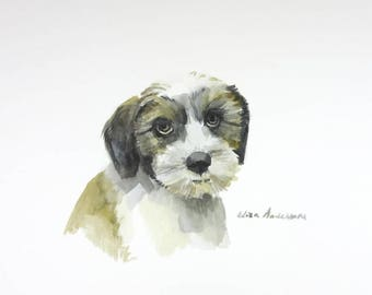 ORIGINAL watercolor painting, Dog watercolor, Dog painting, Dog portrait, Cute dog, Brown dog, Animal watercolor, Nursery room, Pet painting
